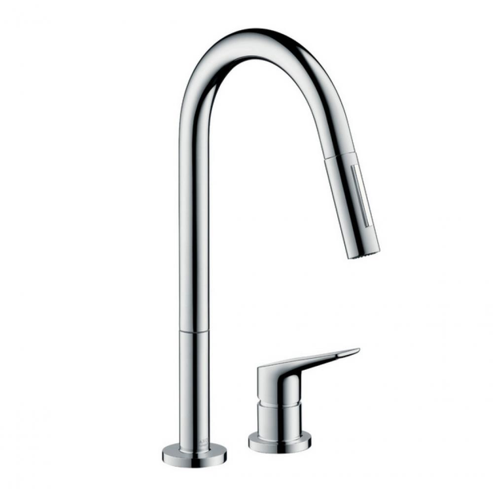 Кухонный смеситель AXOR Citterio M на 2 отверстия 220 с вытяжным душем  34824000