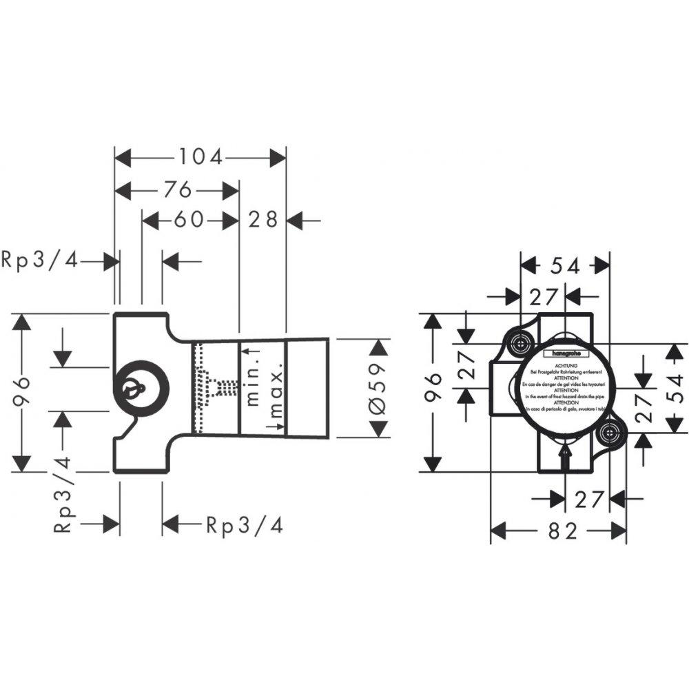 Скрытая часть запорного/переключающего вентиля AXOR Trio 16982180