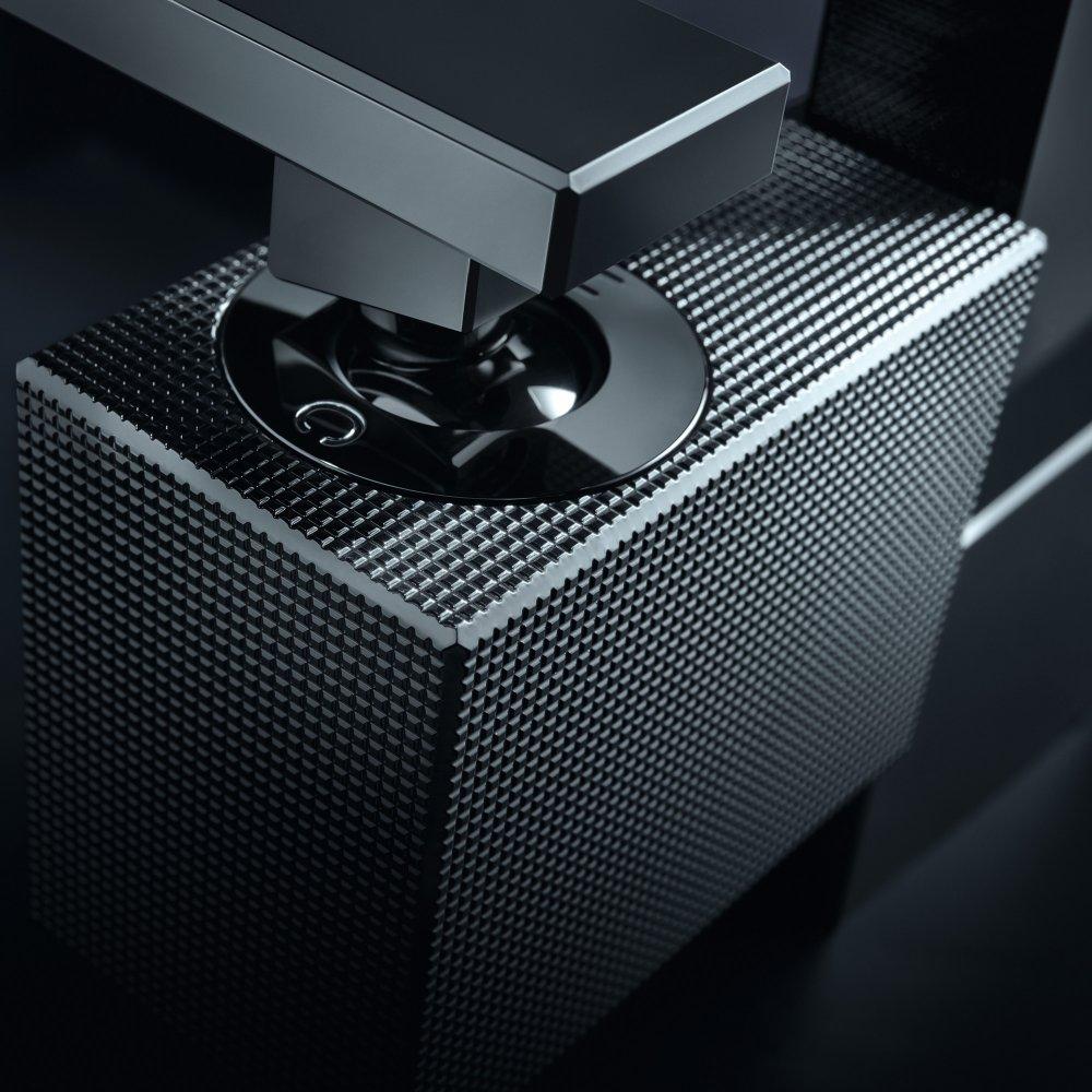 Смеситель для раковины AXOR Edge 190 со сливным клапаном Push-Open с алмазной огранкой  46021000
