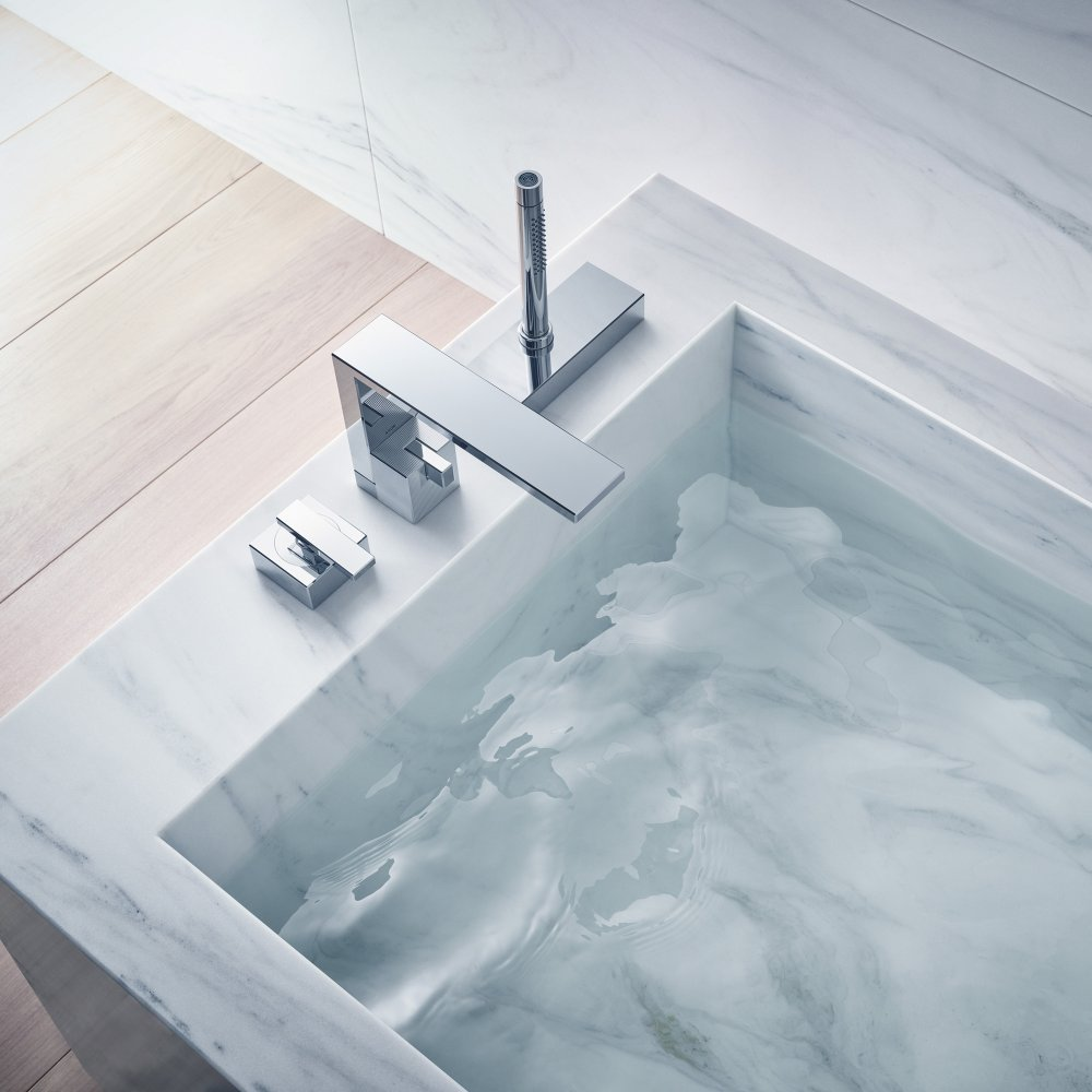 Смеситель на край ванны AXOR Edge на 3 отверстия с алмазной огранкой  46431000
