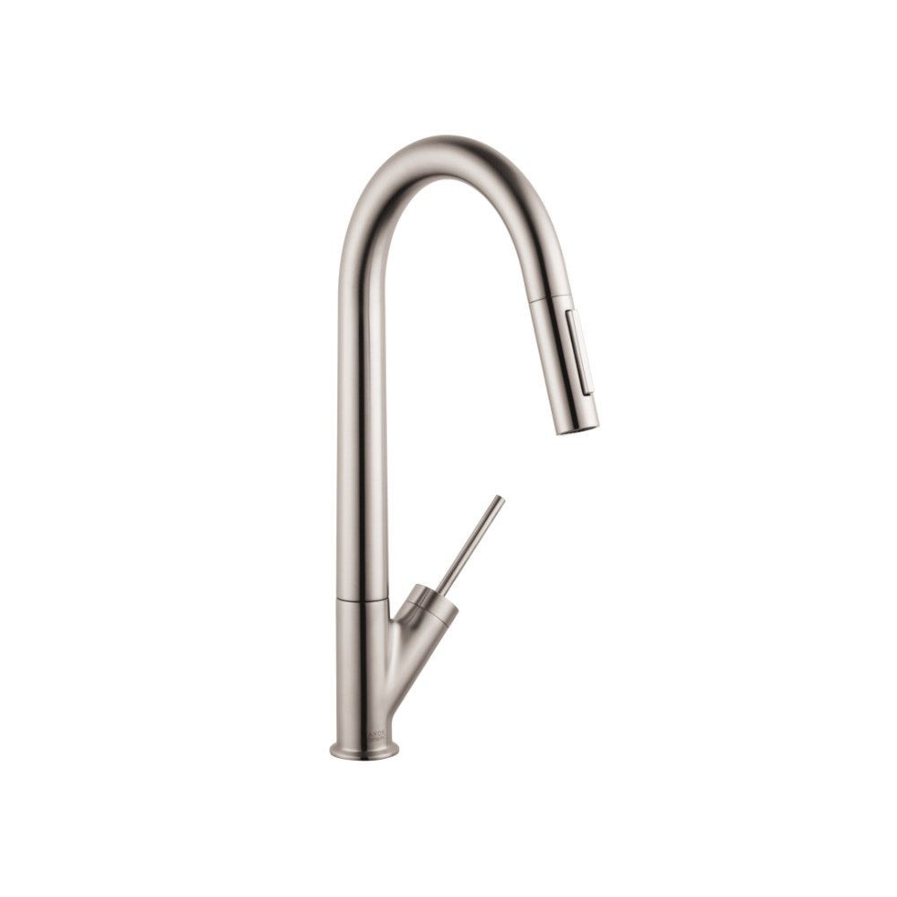 Смеситель для кухни AXOR Starck с выдвижным душем 1/2  нержавеющая сталь  10821800