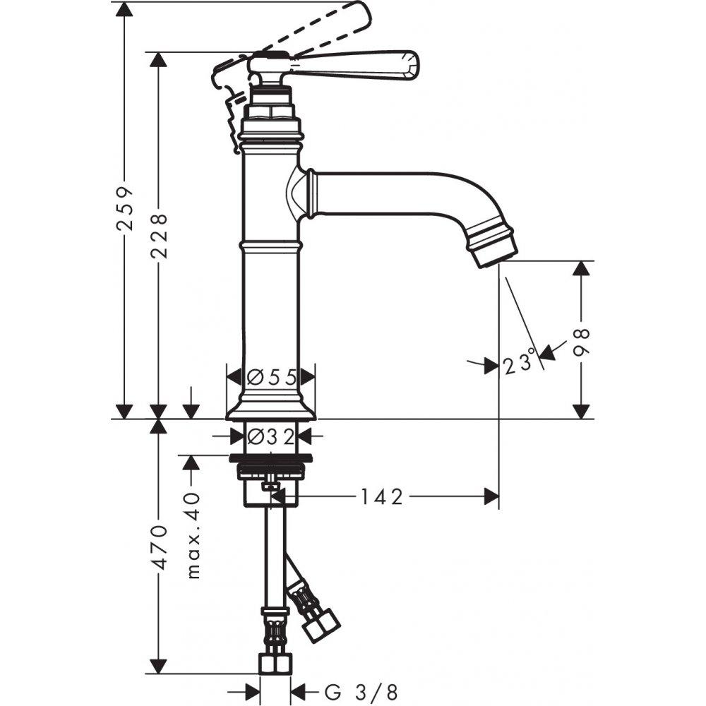 Смеситель AXOR Montreux для раковины с высотой излива 100 мм без донного клапана шлифованный никель  16516820