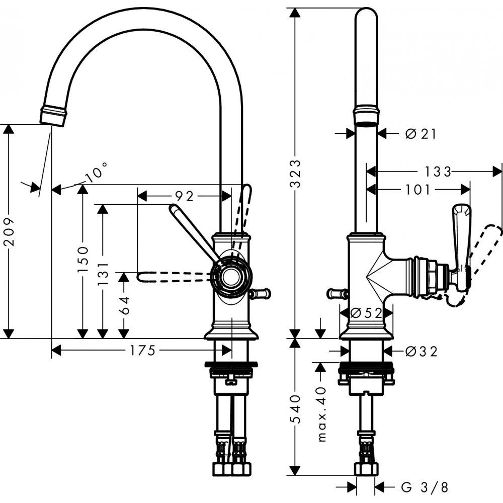 Смеситель AXOR Montreux для раковины с высотой излива 210 мм со сливным гарнитуром шлифованный никель 16517000
