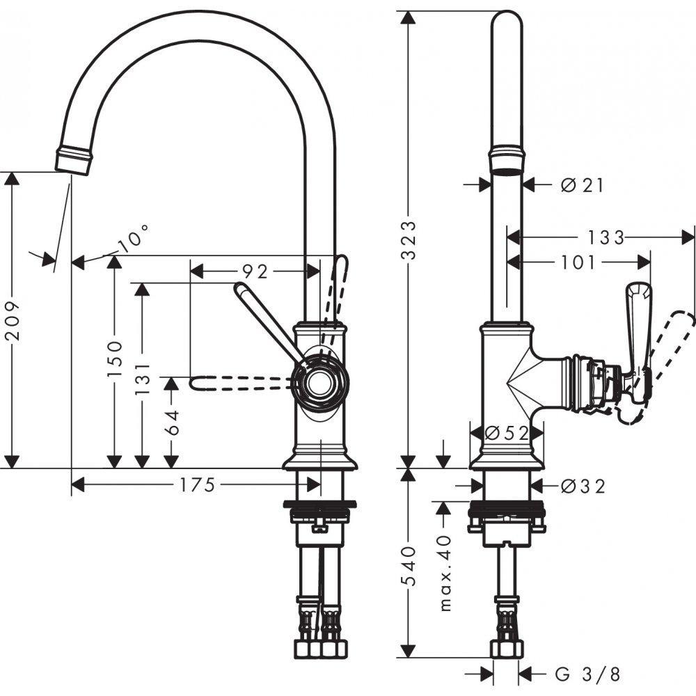Смеситель AXOR Montreux для раковины с высотой излива 210 мм без донного клапана шлифованный никель  16518000
