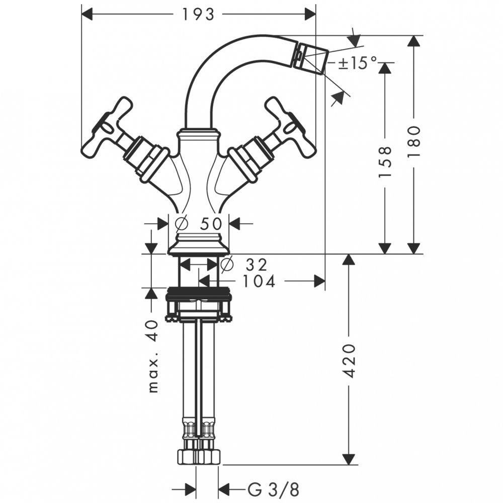 Смеситель для биде AXOR Montreux с двумя рукоятками со сливным гарнитуром шлифованный никель  16520820