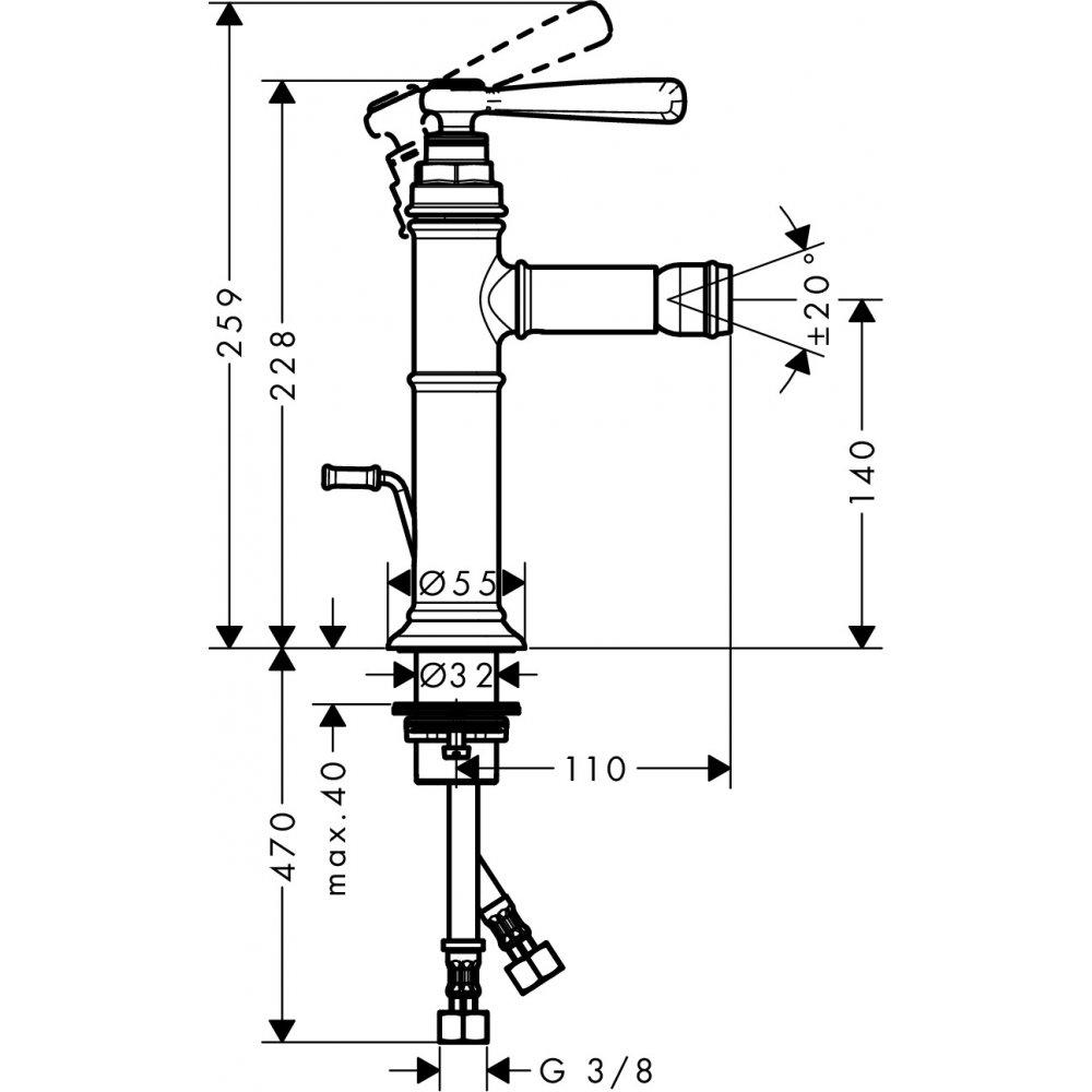Смеситель для биде AXOR Montreux со сливным гарнитуром шлифованный никель  16526820