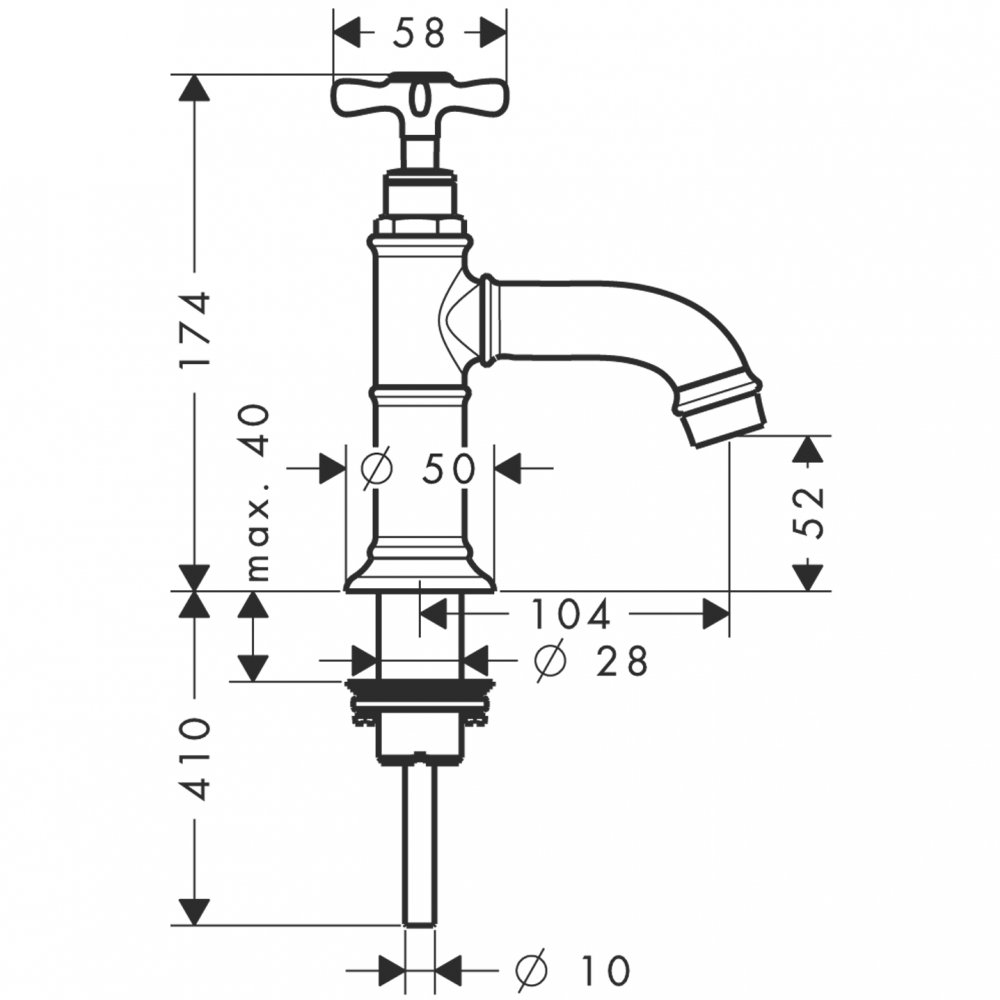 Кран AXOR Montreux 1/2  без сливного набора шлифованный никель  16530820