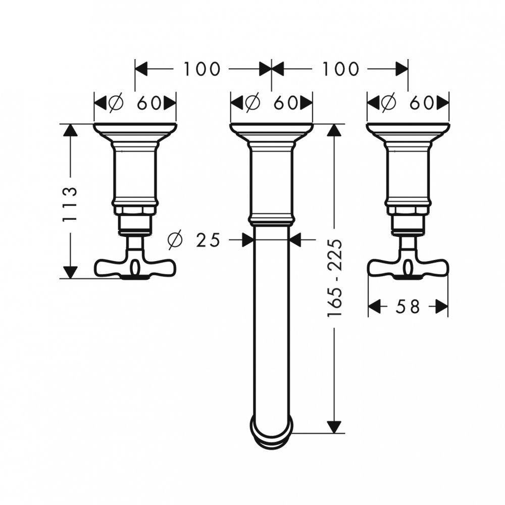 Смеситель AXOR Starck для раковины на 3 отверстия с незапираемым сливным набором настенный для скрытого монтажа хром  16532820