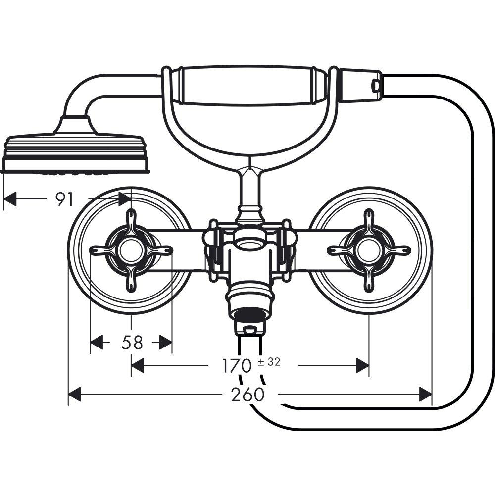 Смеситель для ванны AXOR Montreux с двумя рукоятками 1/2  хром 16540000