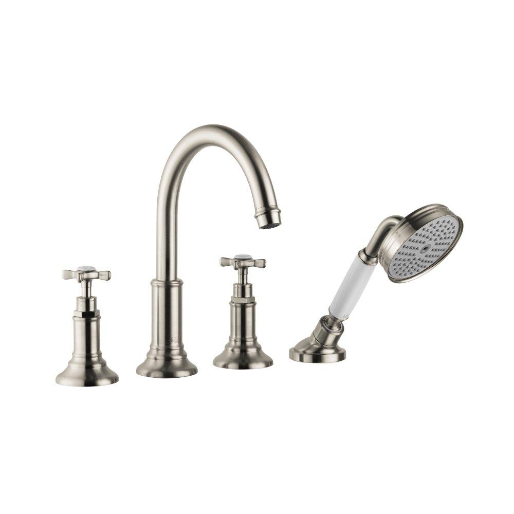 Смеситель для ванны AXOR Montreux на 4 отверстия монтаж на плитку 1/2  шлифованный никель  16544820