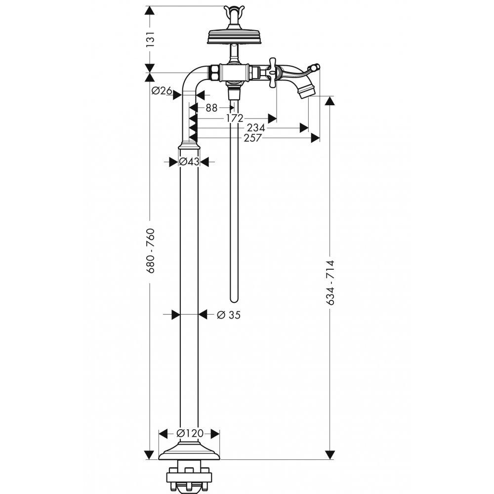 Смеситель для ванны AXOR Montreux с двумя рукоятками напольный 1/2  хром  16547000