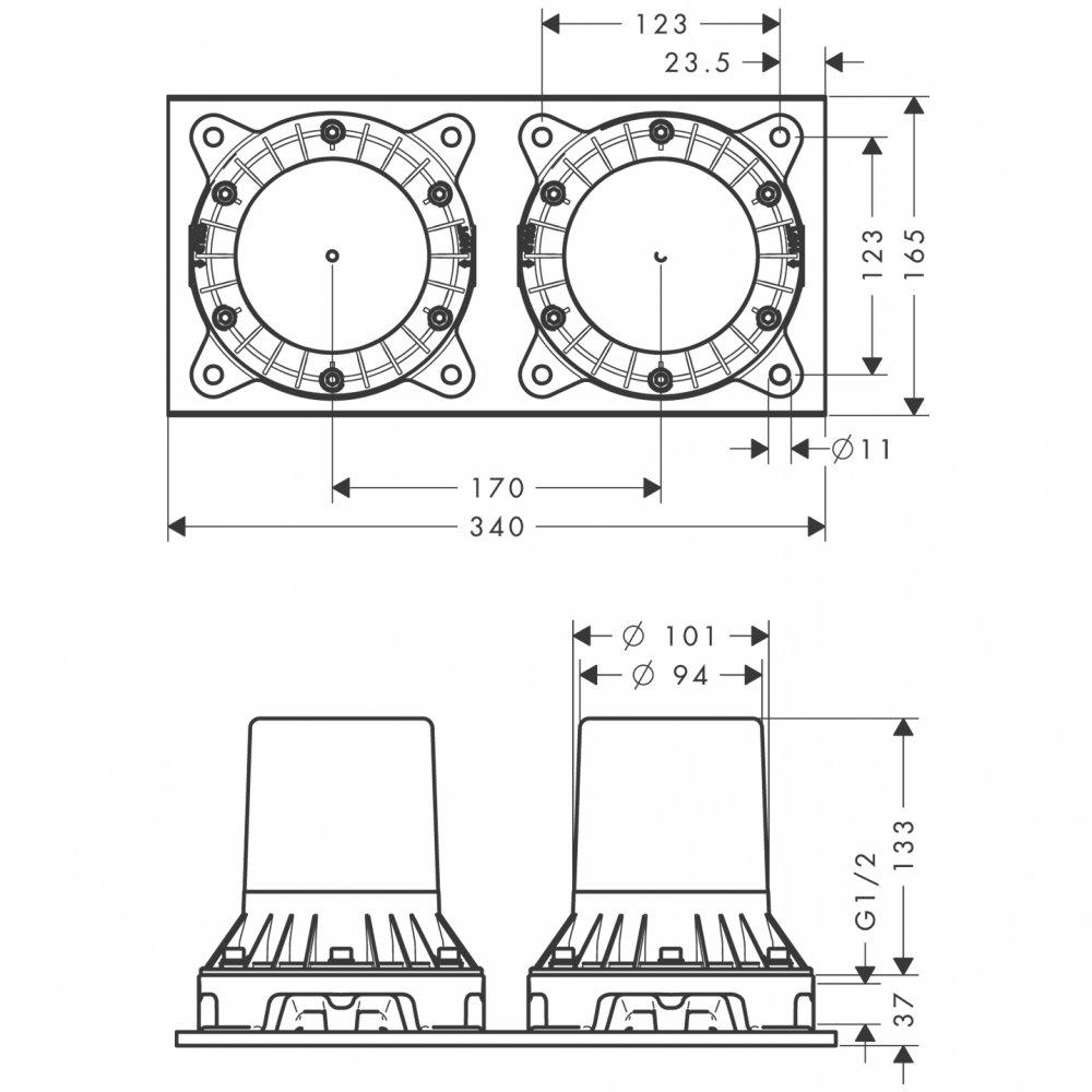 Скрытая часть смесителя для ванны AXOR Montreux с двумя рукоятками установка на полу 1/2   16549180