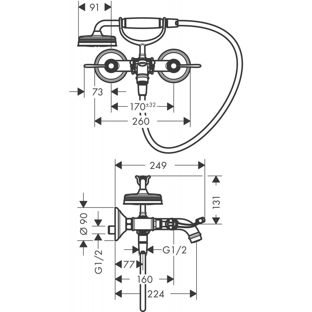 Смеситель для ванны AXOR Montreux с двумя рычаговыми рукоятками внешнего монтажа шлифованный никель  16551820