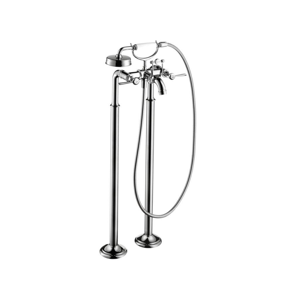 Смеситель для ванны AXOR Montreux с двумя рычаговыми рукоятками напольный шлифованный никель  16553820