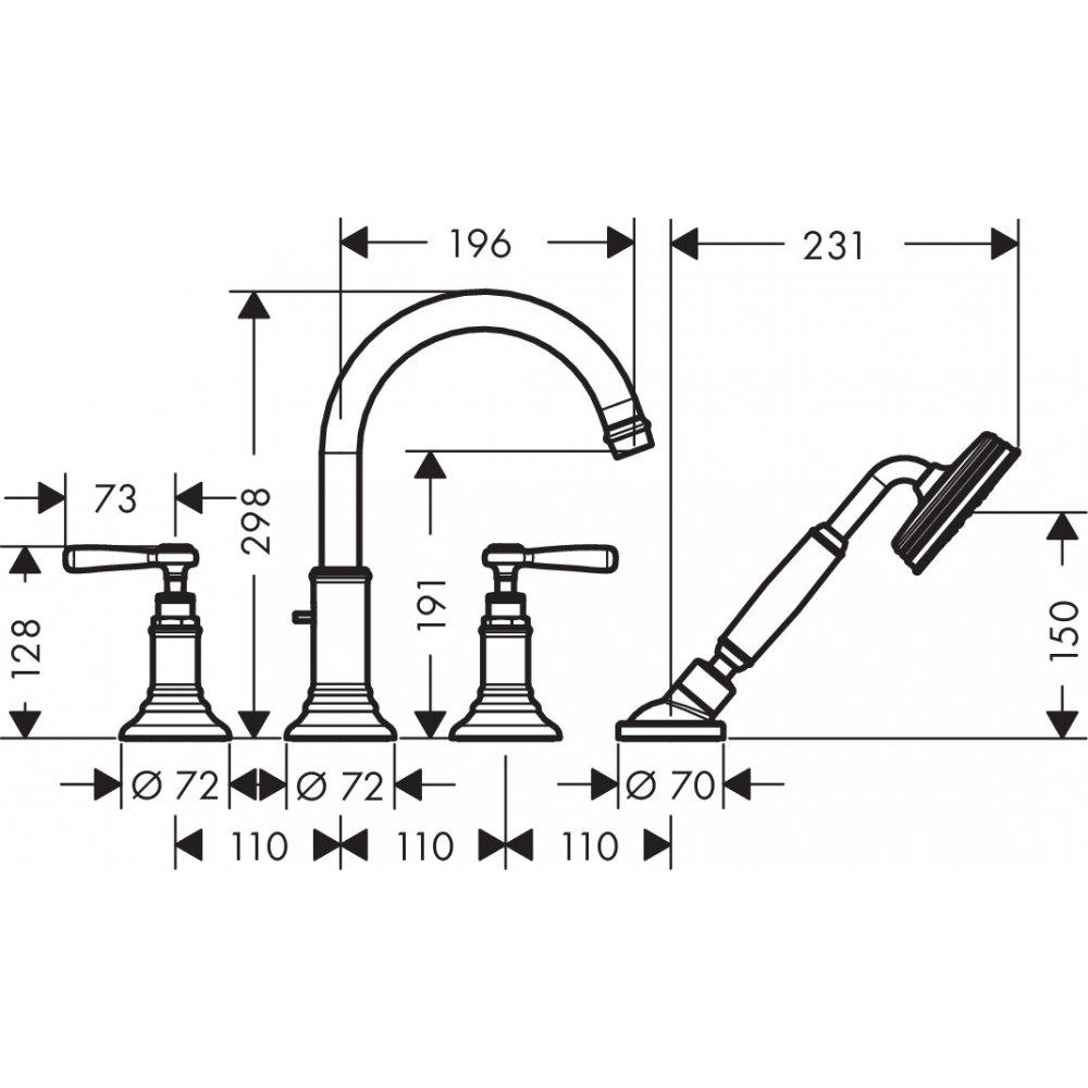 Смеситель для ванны AXOR Montreux на 4 отверстия монтаж на плитку с рычаговыми рукоятками хром  16554000