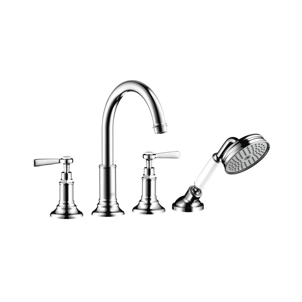 Смеситель для ванны AXOR Montreux на 4 отверстия монтаж на плитку с рычаговыми рукоятками шлифованный никель  16554820