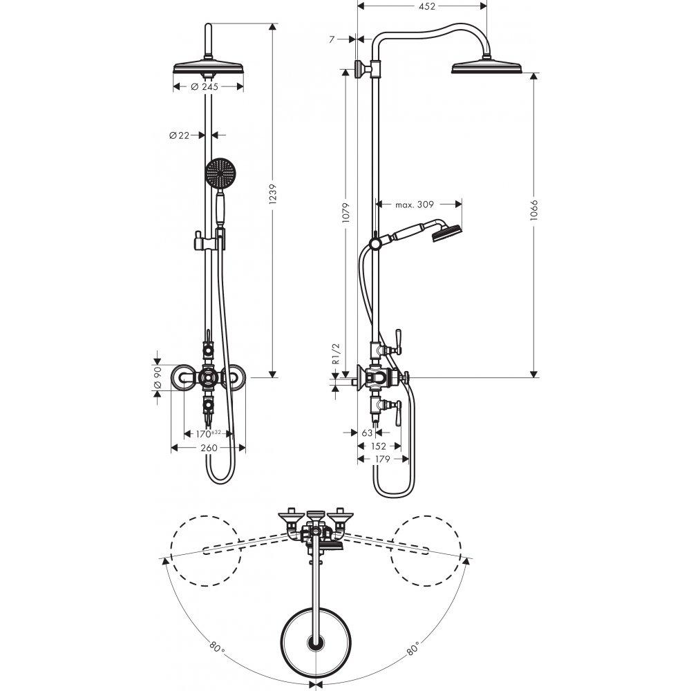 AXOR Showers/Front Showerpipe с термостатом и верхним душем дизайн Front хром  16572820