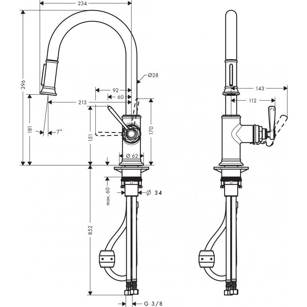 Смеситель для кухни AXOR Montreux с выдвижным душем нержавеющая сталь  16581800