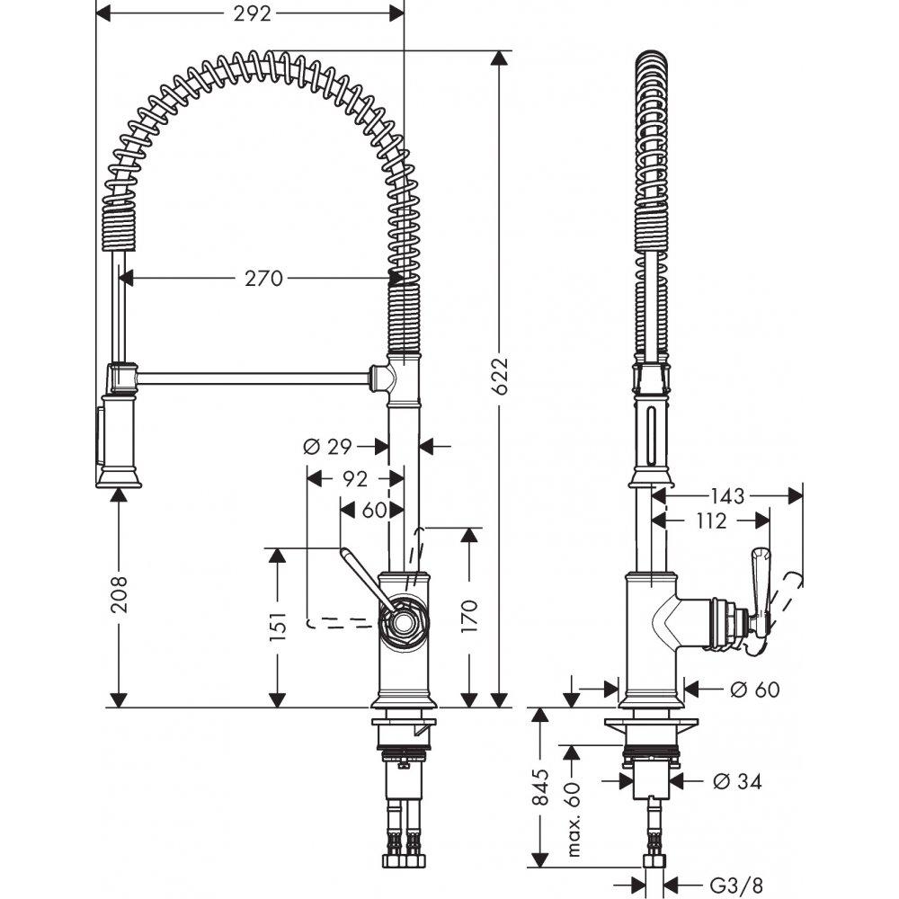 Смеситель для кухни AXOR Montreux Semi Pro нержавеющая сталь  16582800