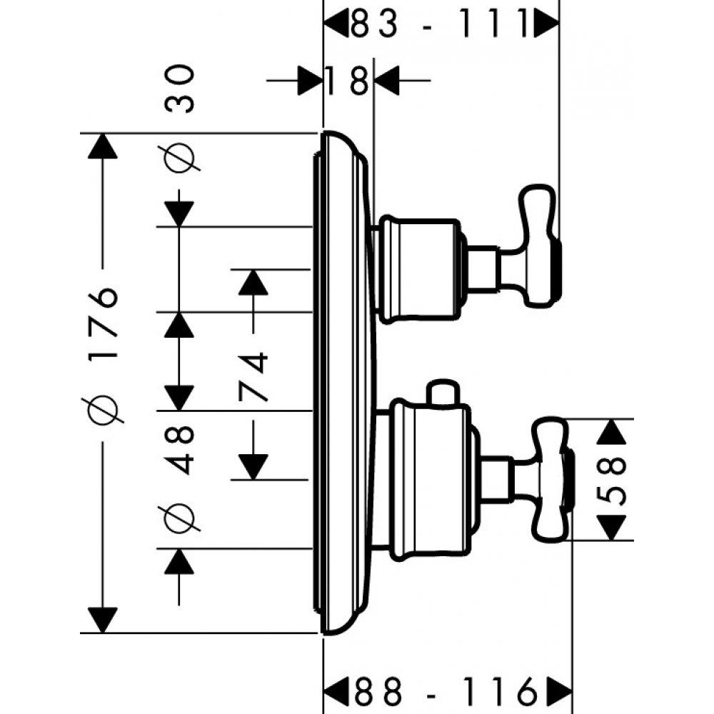 Термостат AXOR Montreux с запорным вентилем для скрытого монтажа шлифованный никель  16800000