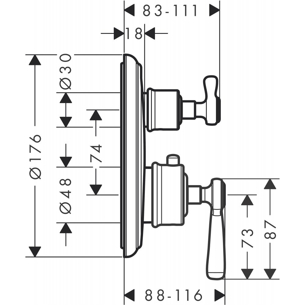 Термостат AXOR Citterio с запорным вентилем с рычаговой рукояткой для скрытого монтаж хром а  16801820