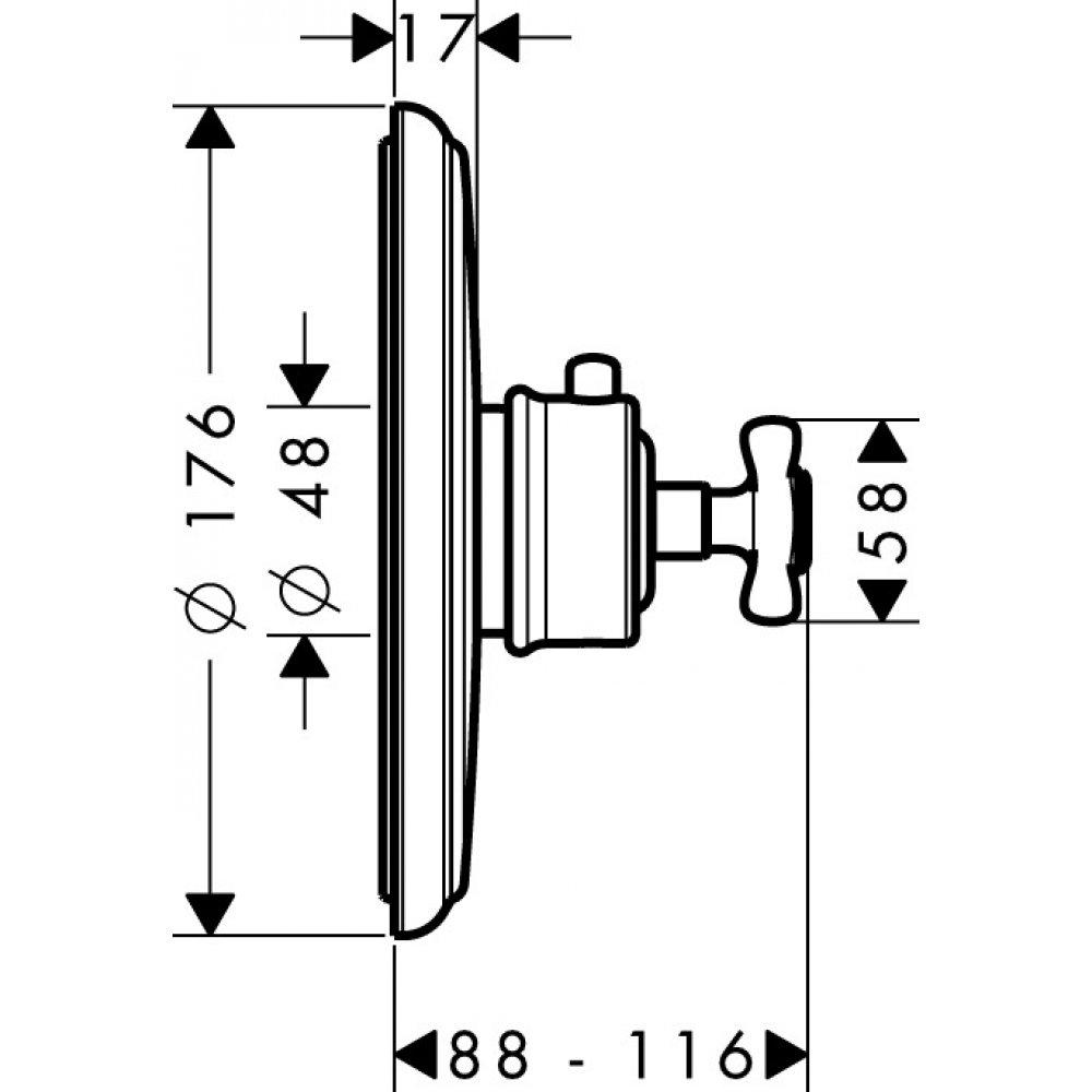 Термостат AXOR Montreux Highflow для скрытого монтажа шлифованный никель  16815000