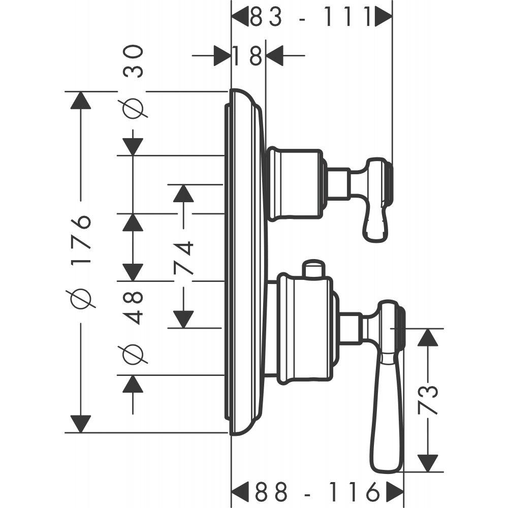 Термостат AXOR Montreux запорный вентиль переключатель потоков с рычаговой рукояткой для скрытого монтажа шлифованный никель  16821000