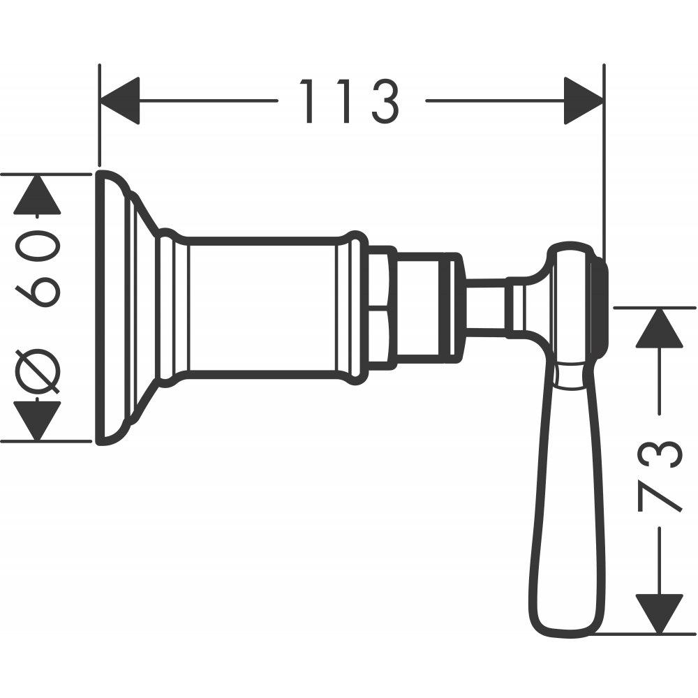 Запорный вентиль AXOR Montreux с рычаговой рукояткой для скрытого монтажа 1/2  и 3/4  хром  16872000