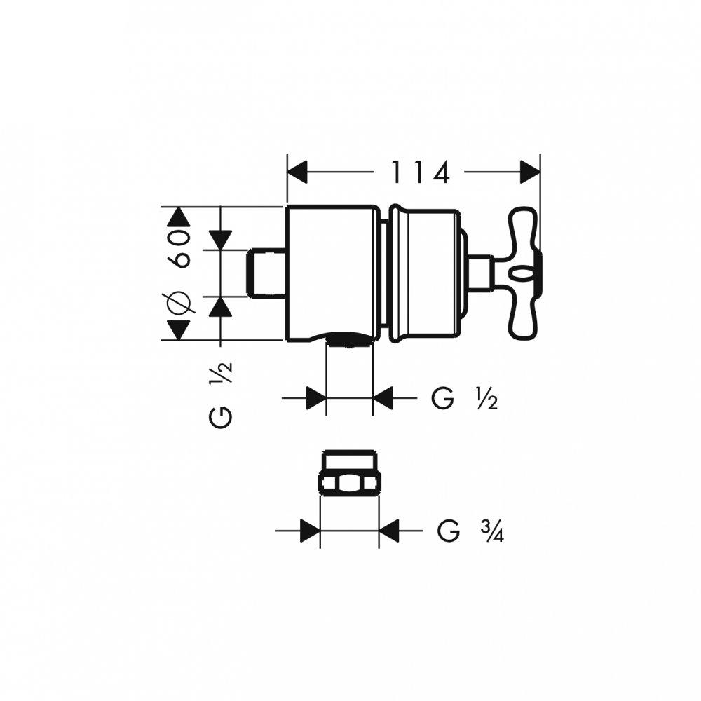 AXOR Carlton Fixfit Stop шланговое подсоединение с крестовой рукояткой 1/2  хром  16882820