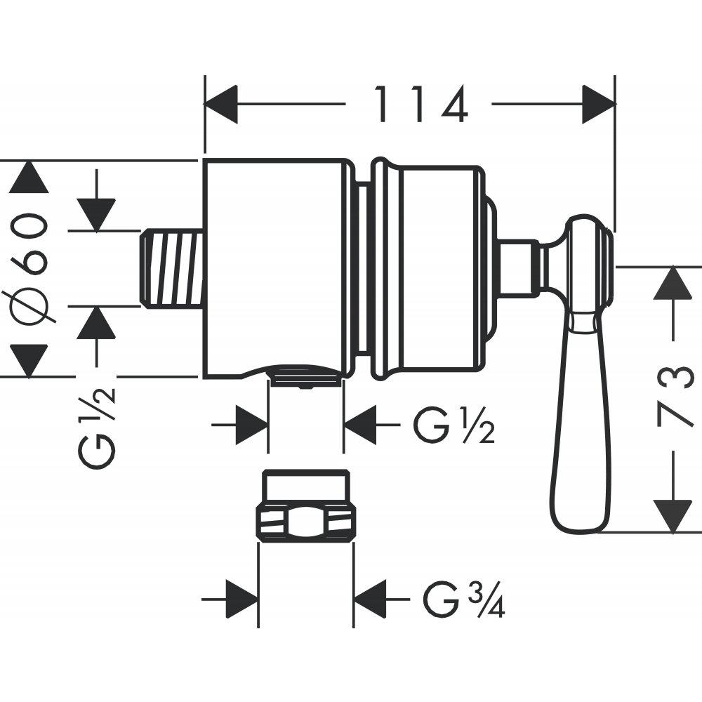 Шланговое подсоединение AXOR Montreux Fixfit Stop с рычаговой рукояткой 1/2  шлифованный никель  16883000