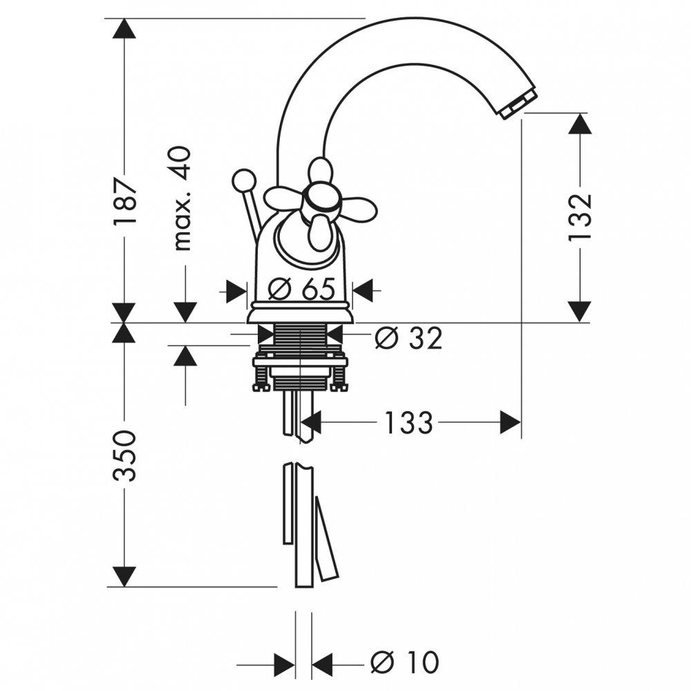 Смеситель AXOR Carlton для раковины с высотой излива 130 мм с двумя рукоятками с поворотным изливом и медными трубками со сливным гарнитуром хром  17030000