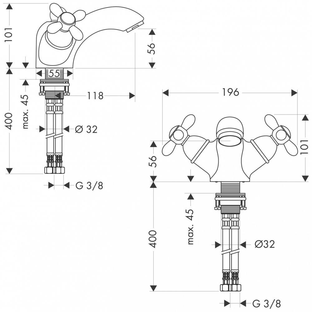 Смеситель AXOR Uno для раковины с высотой излива 70 мм с рукояткой петлей с незапираемым сливным набором хром  17032000