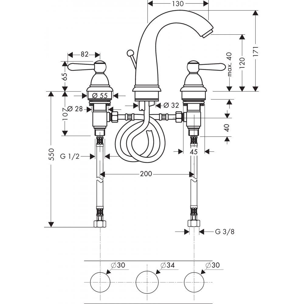Смеситель AXOR Carlton для раковины с высотой излива 120 мм на 3 отверстия с рычаговыми рукоятками со сливным гарнитуром хром  17134000