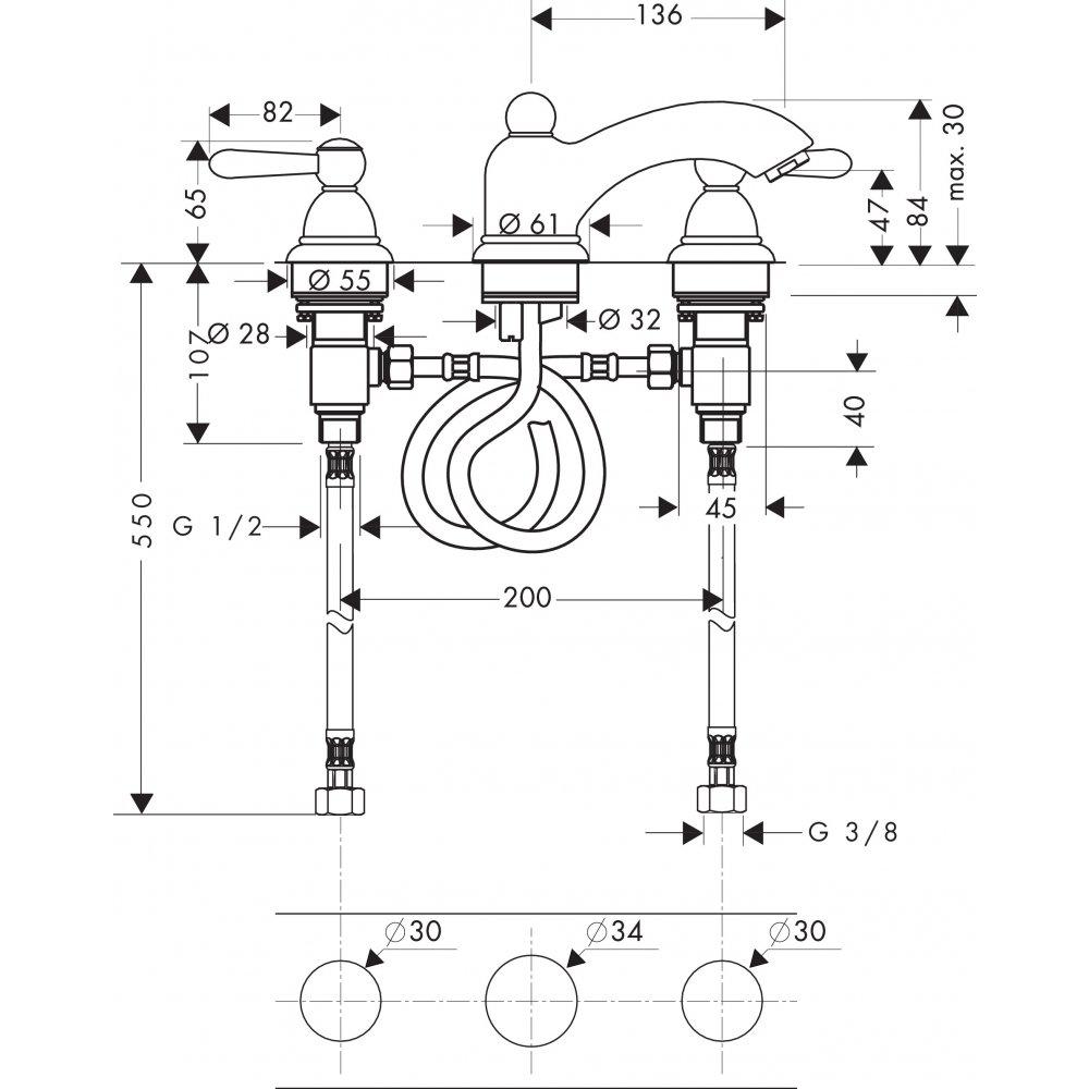Смеситель AXOR Carlton для раковины с высотой излива 50 мм на 3 отверстия с рычаговыми рукоятками со сливным гарнитуром хром и золото  17135000