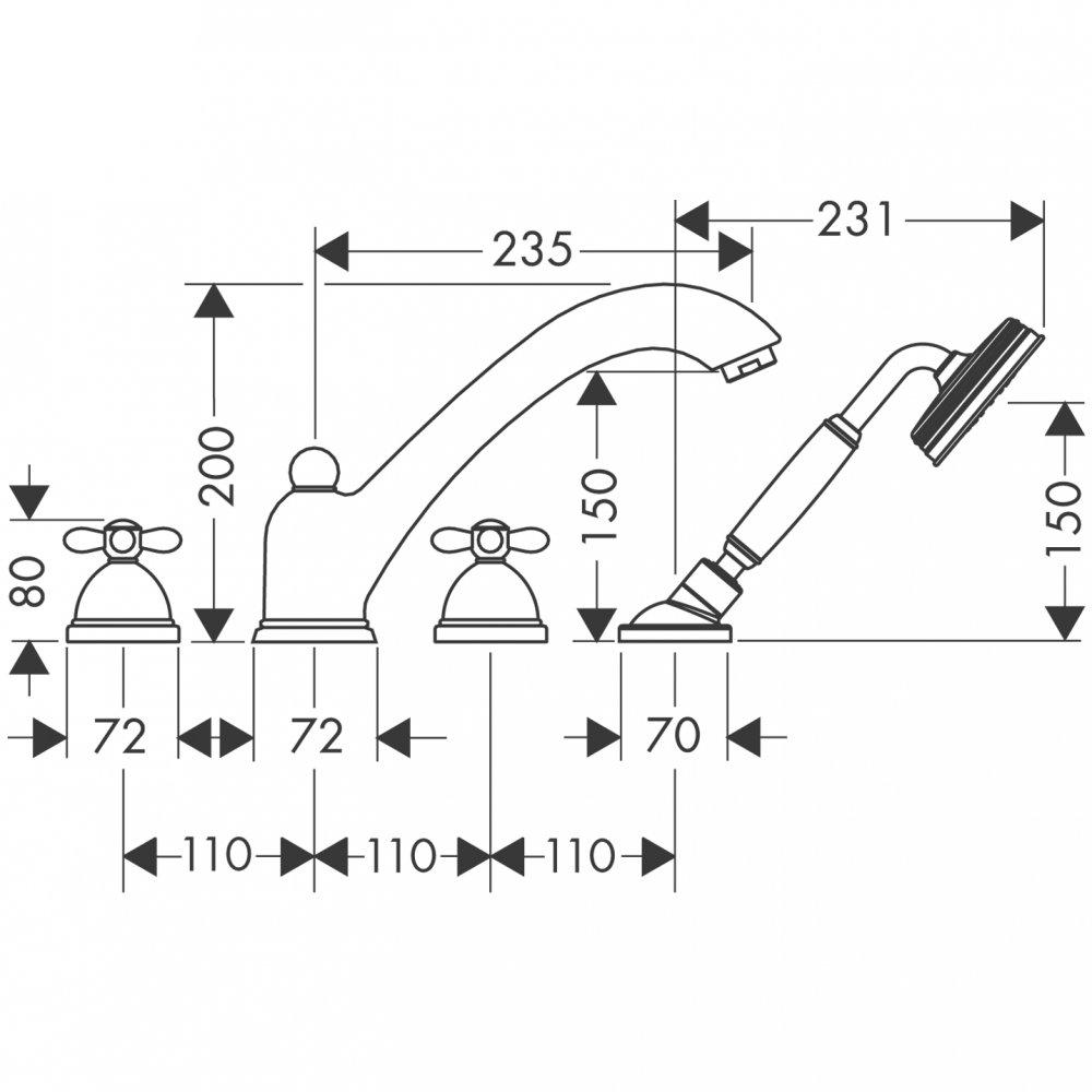 Смеситель для ванны AXOR Carlton на 4 отверстия монтаж на плитку с крестовыми рукоятками 1/2  хром  17451000