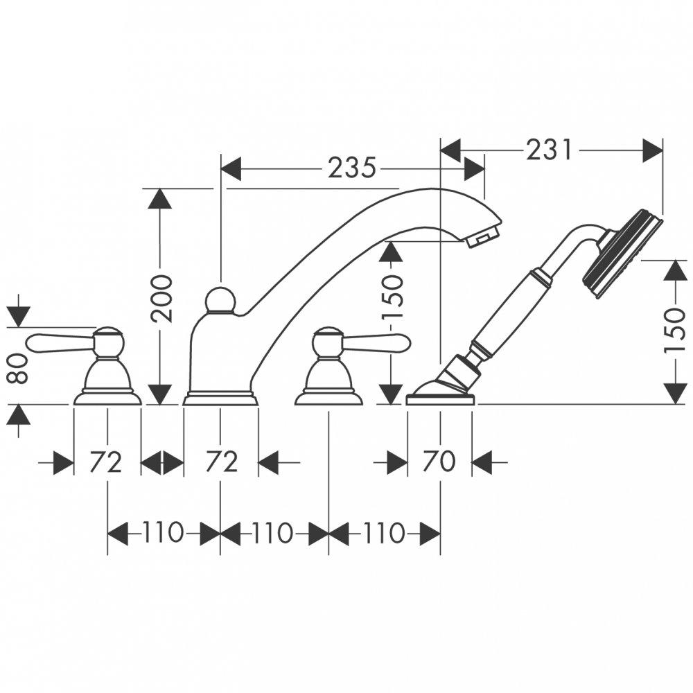 Смеситель для ванны AXOR Carlton на 4 отверстия монтаж на плитку с рычаговыми рукоятками 1/2  хром  17455000