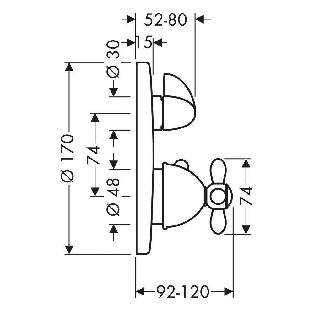 Термостат AXOR Carlton с запорным вентилем с крестовой рукояткой для скрытого монтажа хром и золото  17705000