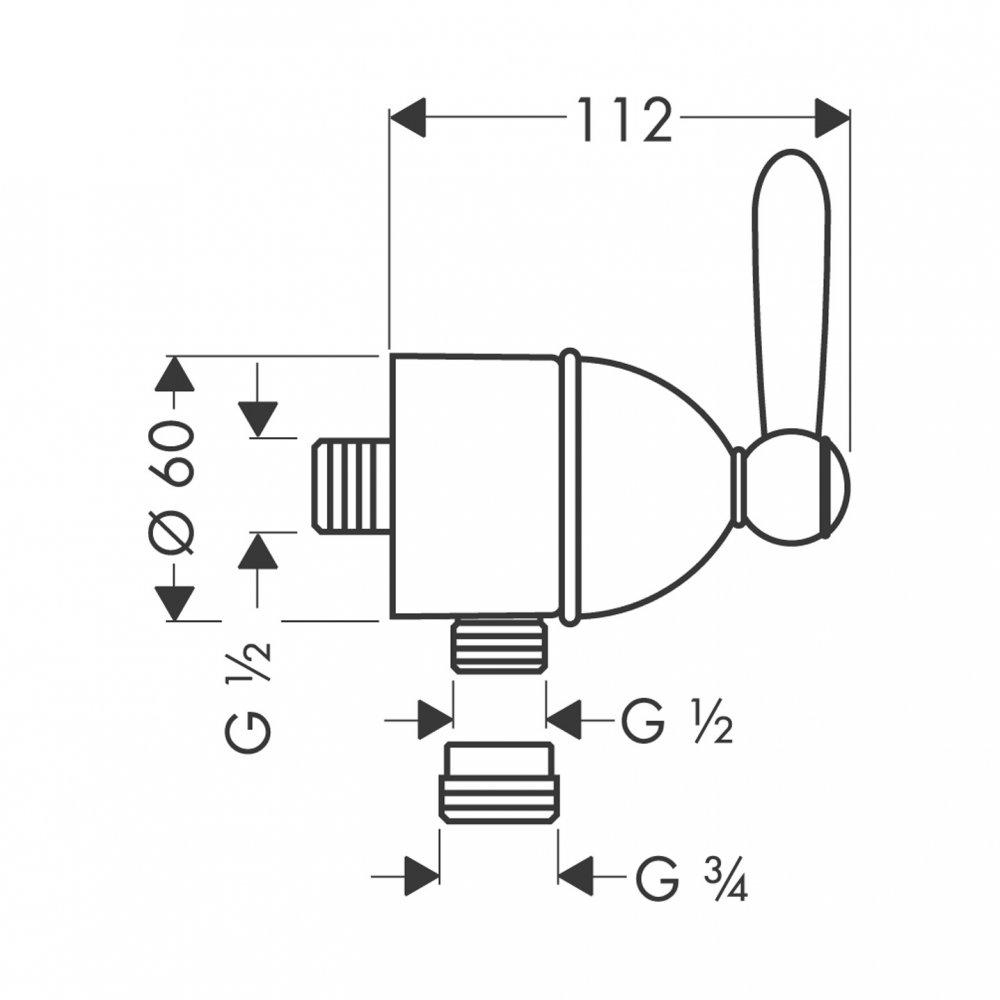 AXOR Carlton Fixfit Stop шланговое подсоединение с рычаговой рукояткой 1/2  хром и золото  17882000