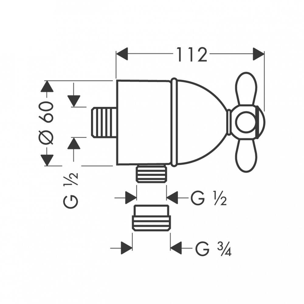 AXOR Carlton Fixfit Stop шланговое подсоединение с крестовой рукояткой 1/2  хром и золото  17883000