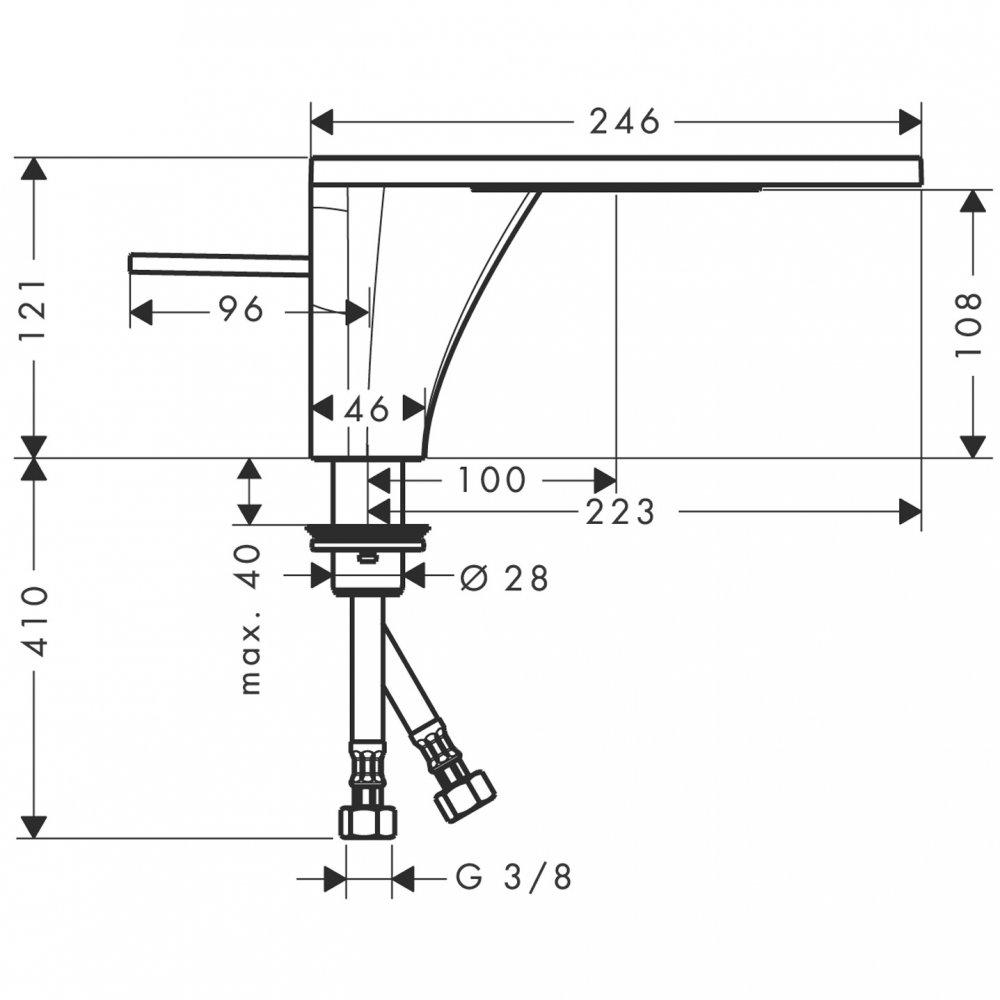 Смеситель AXOR Massaud для раковины с высотой излива 110 мм с незапираемым сливным набором хром  18010000