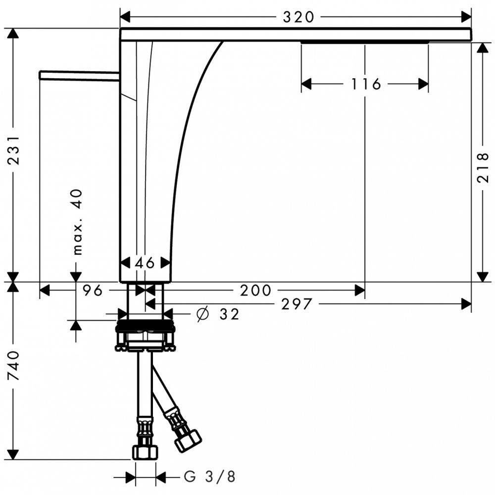 Смеситель AXOR Starck Organic для раковины в форме таза с высотой излива 240 мм с двумя рукоятками с незапираемым сливным набором хром  18020000