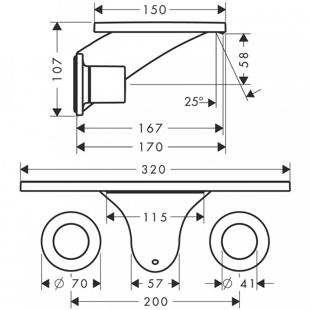 Смеситель AXOR Citterio для раковины на 3 отверстия с крестовыми рукоятками и изливом 205 мм хром  18112000