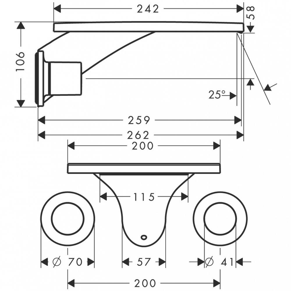 Смеситель AXORMassaud для раковины на 3 отверстия с коротким изливом 167 мм с незапираемым сливным набором настенный монтаж и для скрытого монтажа хром  18115000