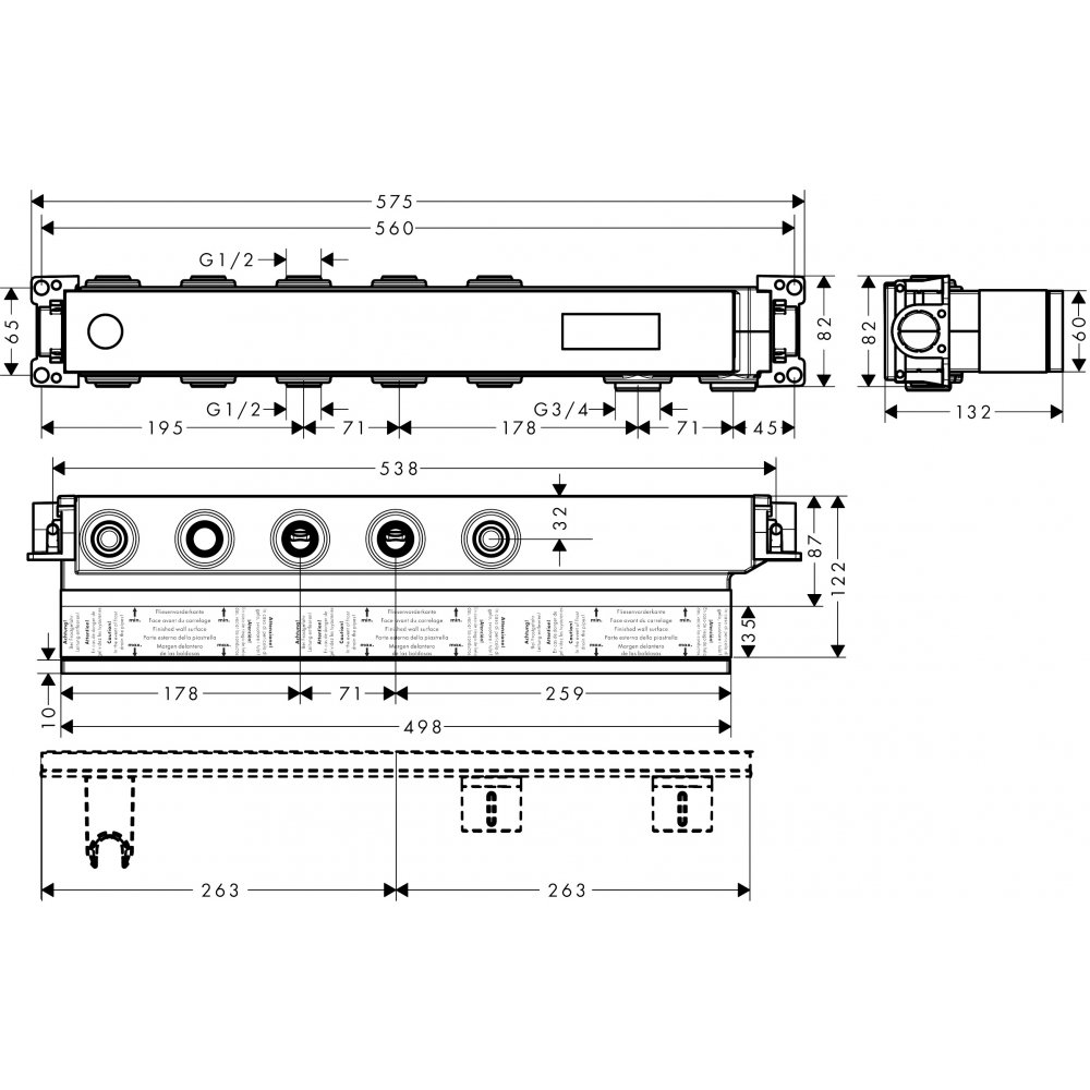 Скрытая часть AXOR для термостата Select для 3 потребителей  18311180