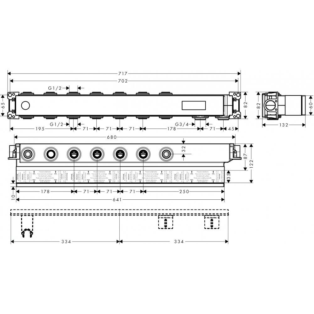 Скрытая часть AXOR для термостата Select для 5 потребителей  18313180
