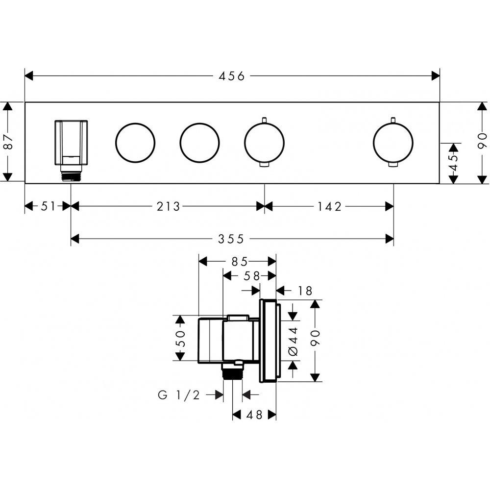 Термостат AXOR ShowerSolutions Select 530 90 для 3 потребителей хром  18355000