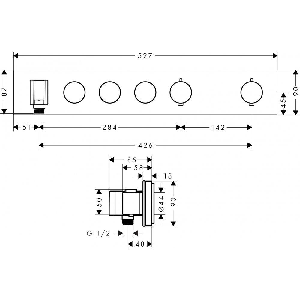 Термостат AXOR ShowerSolutions Select 600 90 для 4 потребителей хром  18356000