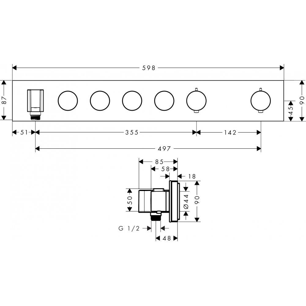 Термостат AXOR ShowerSolutions Select 670 90 для 3 потребителей хром  18357000