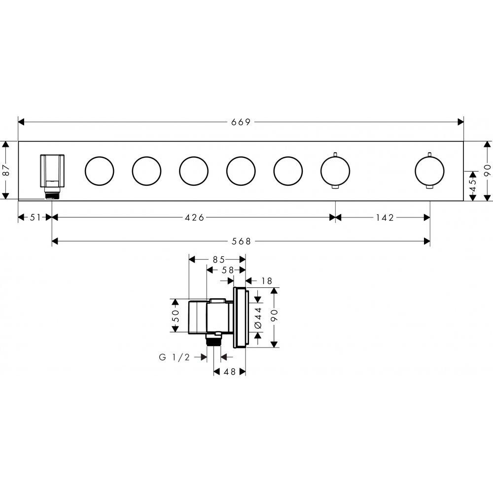 Термостат AXOR ShowerSelect для 4 потребителей для скрытого монтажа скругленные углы хром  18358000