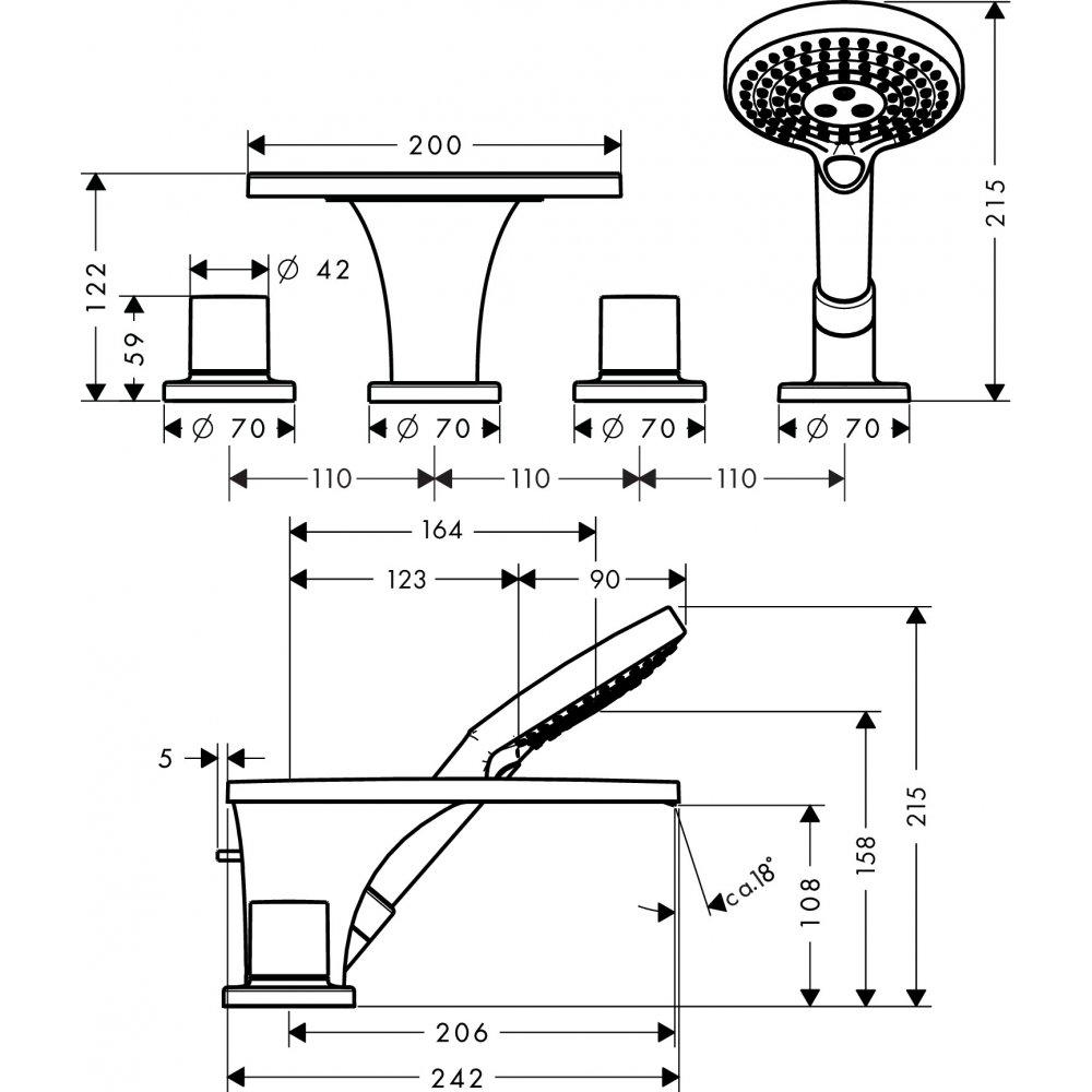Смеситель для ванны AXOR Massaud на 4 отверстия монтаж на плитку 1/2  хром  18453000
